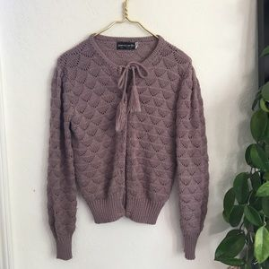 ⭐️ Vintage dusty purple knit tassel cardigan
